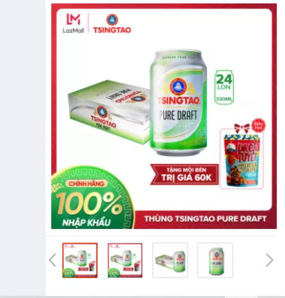 [TẶNG MỒI BÉN] - Thùng 24 lon Bia Tsingtao Pure Draft - Độ cồn 4.3% - Bia Thanh Đảo Nhập khẩu chính hãng 100%