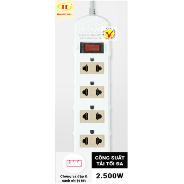 Ổ cắm điện , 4 lỗ cắm, có công tắc ON/OFF, chịu tải tối đa 2.500W, HÀNG VIỆT NAM CHẤT LƯỢNG CAO- HONJIANDA