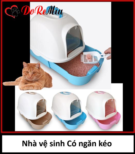 Doremiu - Nhà vệ sinh cho mèo dưới 10kg dạng hộp kín có ngăn kéo siêu to đựng cát vệ sinh mèo