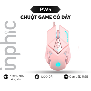 Chuột Chơi Game Có Dây INPHIC PW5 Màu Hồng Đen Hỗ Trợ Điều Chỉnh DPI 4 Tốc Độ - Chính hãng thumbnail