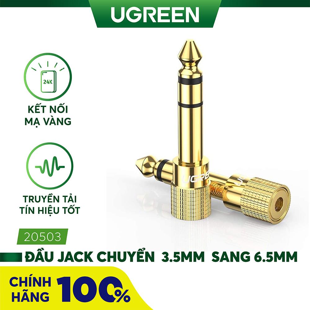 Đầu jack chuyển đổi âm thanh từ cổng 3.5mm cái sang cổng 6.5mm đực chính hãng UGREEN 20503 - Hãng phân phối chính thức