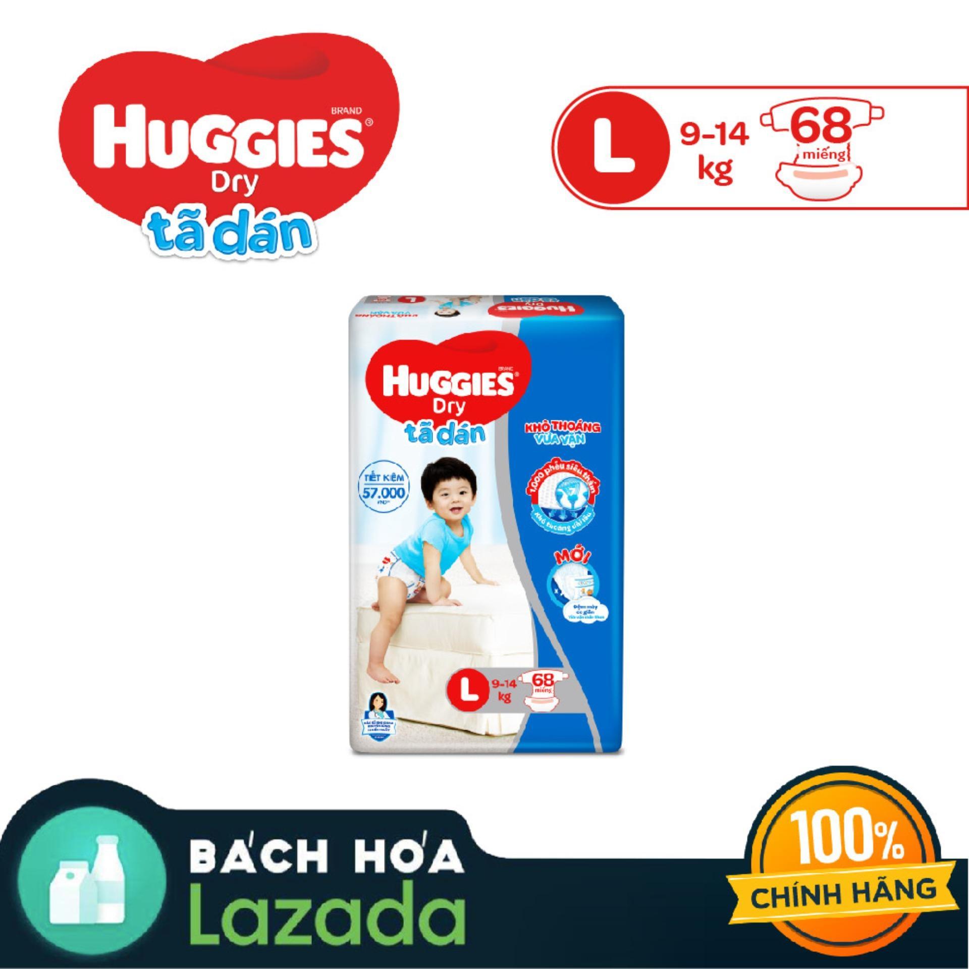 Mã Khuyến Mại Tã/bỉm Dán Huggies Dry Super Jumbo L68 (Đệm Mây Co Giãn) - Gói 68 Miếng (Cho Bé 9kg - 14kg) - Cam Kết HSD Còn ít Nhất 10 Tháng