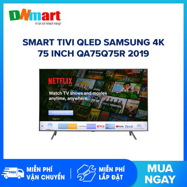 Bảng giá Smart Tivi QLED Samsung 4K 75 inch QA75Q75R Tìm kiếm giọng nói, Bluetooth:Có (Loa, chuột, bàn phím) Kết nối Internet:Cổng LAN, Wifi Cổng AV:Có cổng Composite và cổng Component Cổng HDMI:4 cổng