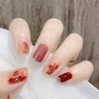 Móng tay giả cao cấp nail giả đẹp hot trend Bộ 24 móng giả bộ móng tay giả móng tay giả hoa cúc trắng nail xà cừ sơn gel có keo sẵn XP-MT041 thumbnail