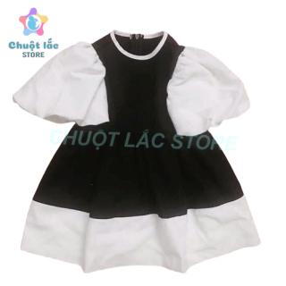 Đầm váy bé gái kiểu tay phồng công chúa bạch tuyết chất lụa hàn mềm mại cho bé từ 10kg đến 22kg (màu đỏ, đen)