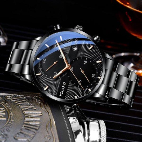 Nơi bán Đồng hồ nam cao cấp GADYSON dây thép đen có kèm lịch ngày (có hộp) ECI129