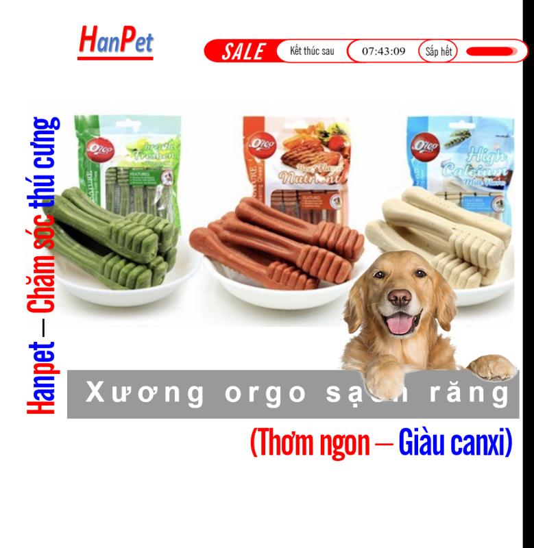(Túi 6 cái) Xương cho chó gặm Xương bàn chải orgo (3 Vị) Trắng răng thơm miệng ngừa sâu răng