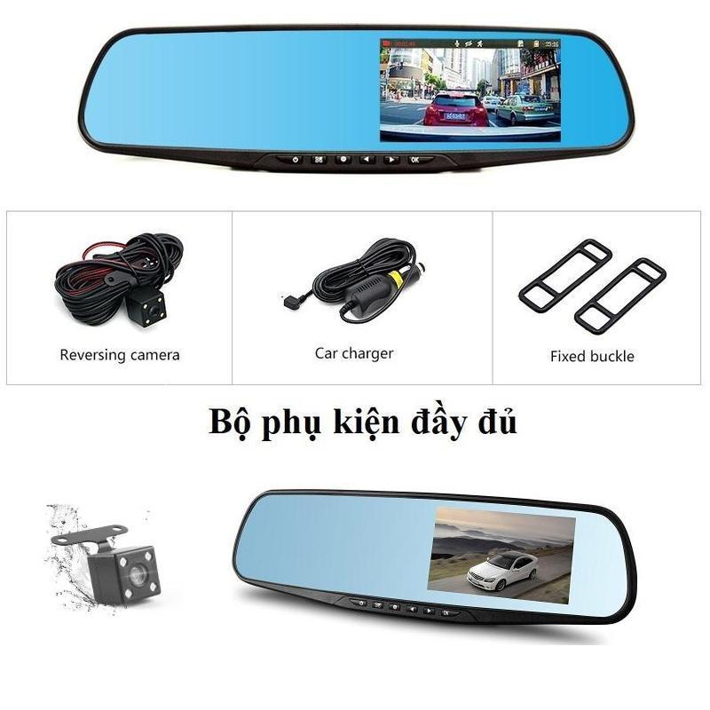 Camera hành trình gương chiếu hậu (4.3inch), Kèm camera lùi Vehicle BlackBox fullHD 1080