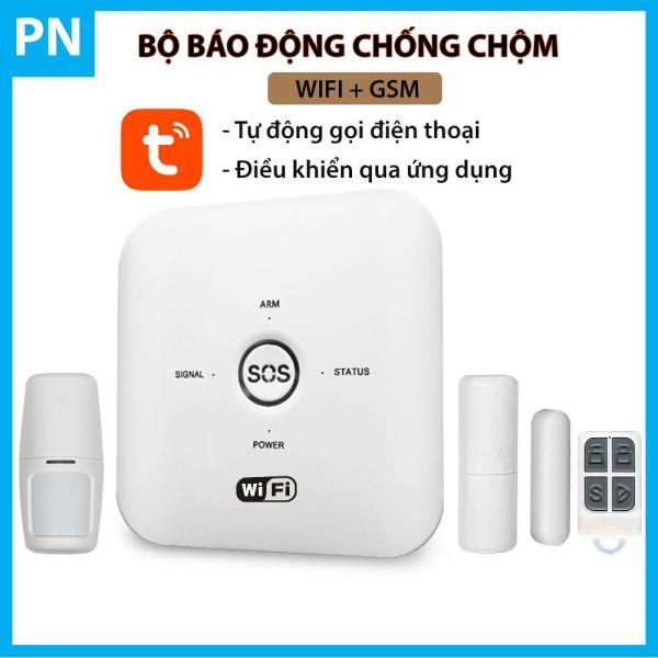 Bộ báo động chống chộm qua điện thoại Wifi + GSM Tuya