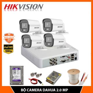 Bộ Camera Quan Sát Có Màu Ban Đêm, Có Mic Hikvision 2.0MP FHD 1080P - Trọn Bộ 4 Camera An Ninh Hikvision Quay Đêm Có Màu, Kèm HDD + Đầy Đủ Phụ Kiện Lắp Đặt thumbnail