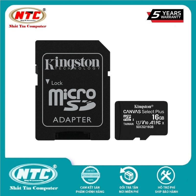 Thẻ nhớ microSDHC Kingston Canvas Select Plus 16GB U1 V10 A1 100MB/s (Đen) - Kèm Adapter - Nhất Tín Computer