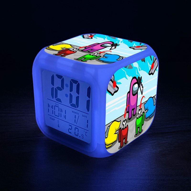 Đồng hồ báo thức để bàn in hình AMONG US VER 2021 anime chibi LED đổi màu bán chạy