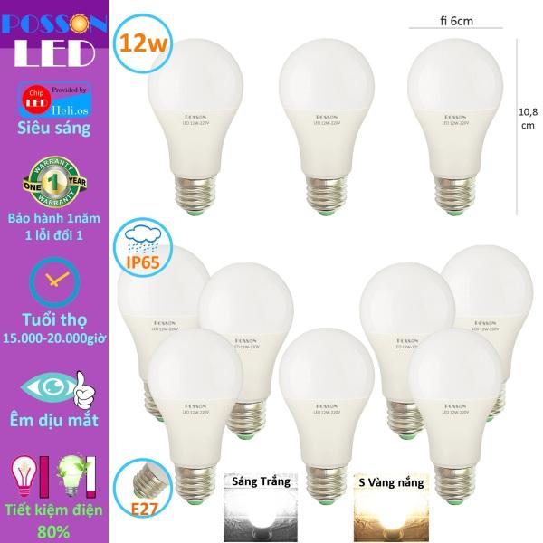 10 Bóng đèn Led 12w bup tròn A60 bulb tiết kiệm điện kín chống nước Posson LB-12x
