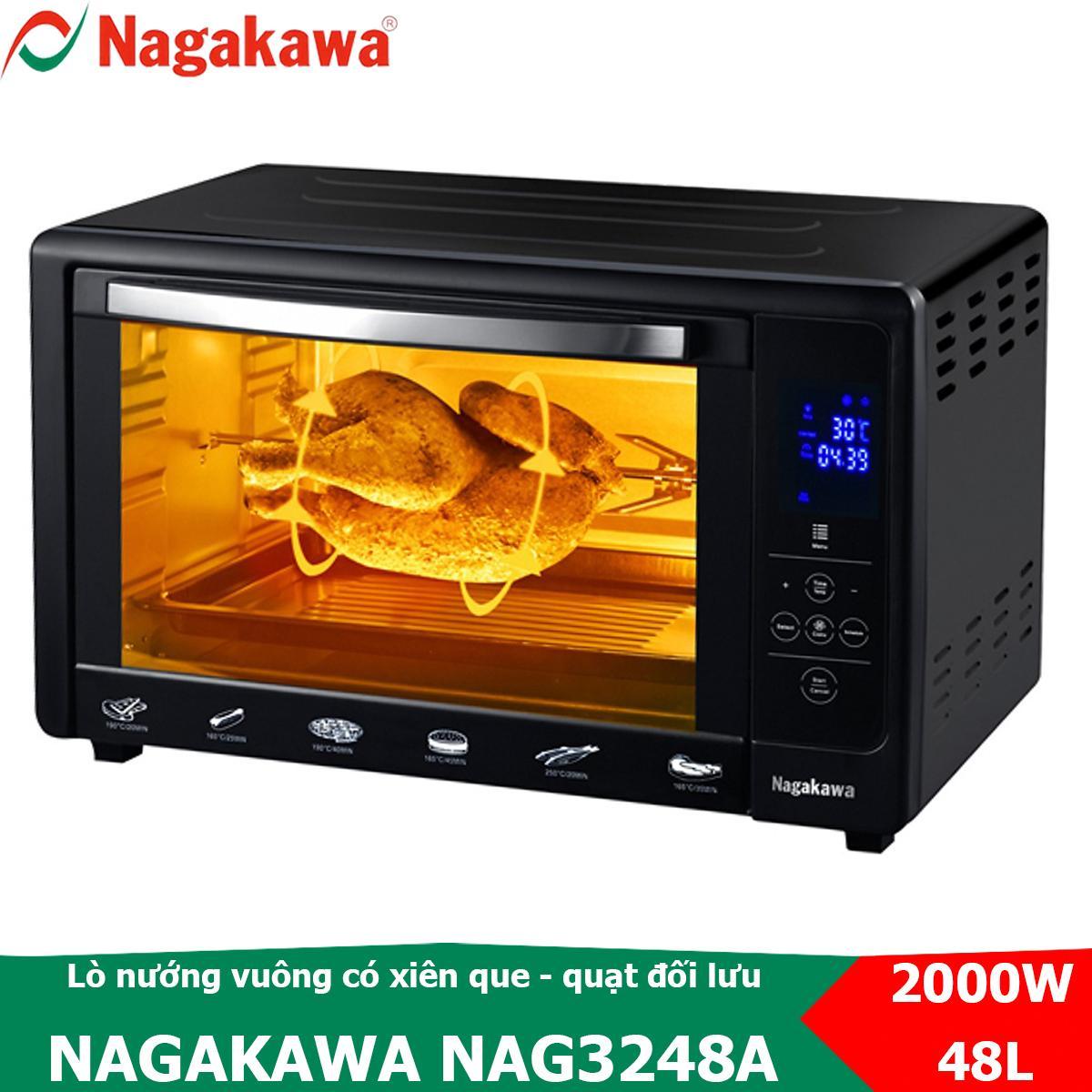 Lò nướng điện vuông 48L, bảng điều khiển cảm ứng Nagakawa NAG3248A có xiên que nướng gà quay