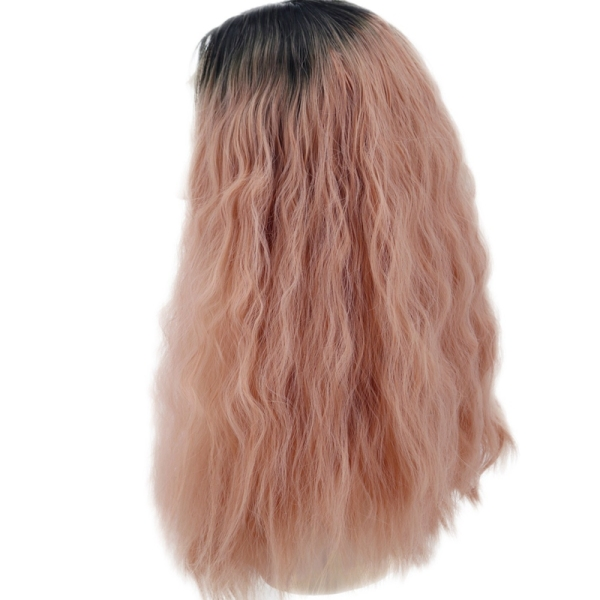 Women Wavy Lace Front Wigs for Orange Pink to Mixed Pink Heat Resistant Synthetic Hair Wig(18 Inch)