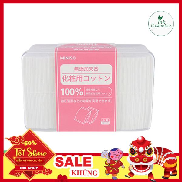 Bông Tẩy Trang Miniso Siêu Mỏng Nhật Bản Hộp 1000 Miếng 100% Cotton Nguyên Chất Dai Mềm, Không Gây Kích Ứng. giá rẻ