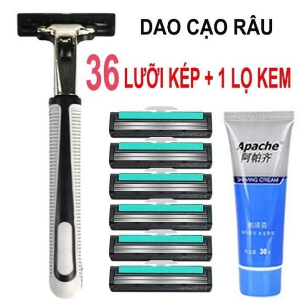 Set Dao Cạo Râu Kèm Tuýp Kem Bôi & 36 Đầu  Lưỡi Cạo Siêu Tiết Kiệm