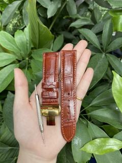 [K32] Dây đồng hồ da cá sấu màu NÂU ĐỎ vân Ô VUÔNG, phát hiện giả ĐỀN 10 LẦN TIỀN,TẶNG KÈM cây tháo lắp dây, dây đồng hồ da cá sấu nam, dây đồng hồ da cá sấu nữ thumbnail
