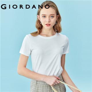 Áo thun T-shirt cổ tròn tay ngắn dành cho nữ kiểu giản dị cao cấp với màu thuận mùa hè mềm mịn thời trang Giordano 05321408 thumbnail