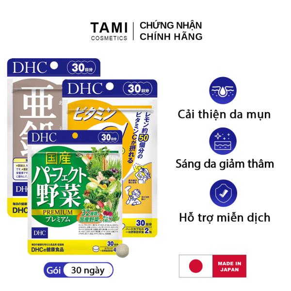 Bộ 3 Chăm sóc da mụn DHC Nhật Bản gồm Viên kẽm zinc + Viên vitamin C + viên rau củ thực phẩm chức năng tăng cường đề kháng làm đẹp da gói 30 ngày TA-DHC-CB15