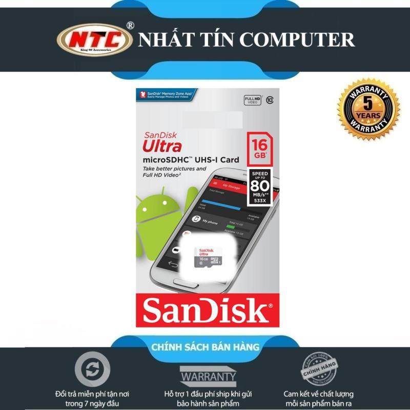 Thẻ nhớ MicroSDHC SanDisk Ultra 533X 16GB 80MB/s - Model 2017 (Trắng bạc)