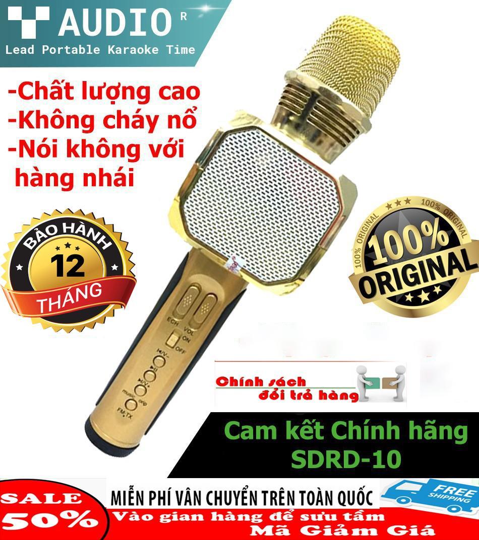 Micro Karaoke Kèm Loa Bluetooth Nhập Khau Cao Cấp, Micro Bluetooth 3 IN 1 SD10 - Hiệu Chỉnh Được Bass Treble Ấn Tượng, Mic Hát Karaoke Bluetooth Không Dây Kèm Loa Âm Vang Ấm