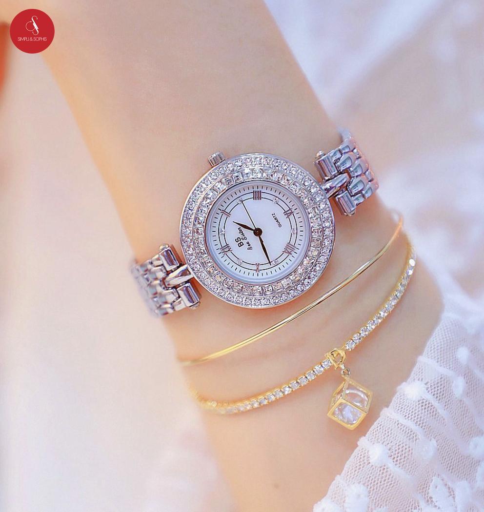 Đồng hồ nữ Bee sister 1559 cao cấp 38mm ( Bạc / Vàng) + Tặng hộp đựng đồng hồ thời trang & Pin Nhật Bản