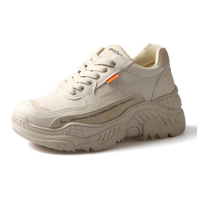 Giày thể thao nữ viền tim chữ - có 2 màu trắng và kem , chất liệu da cao cấp chống nhăn , đế độn tăng chiều cao đáng kể , phong cách Hàn Quốc cá tính,năng động , sử dụng đi học,đichơi,đilàm , đẹp,giá rẻ , hot 2020 giá rẻ