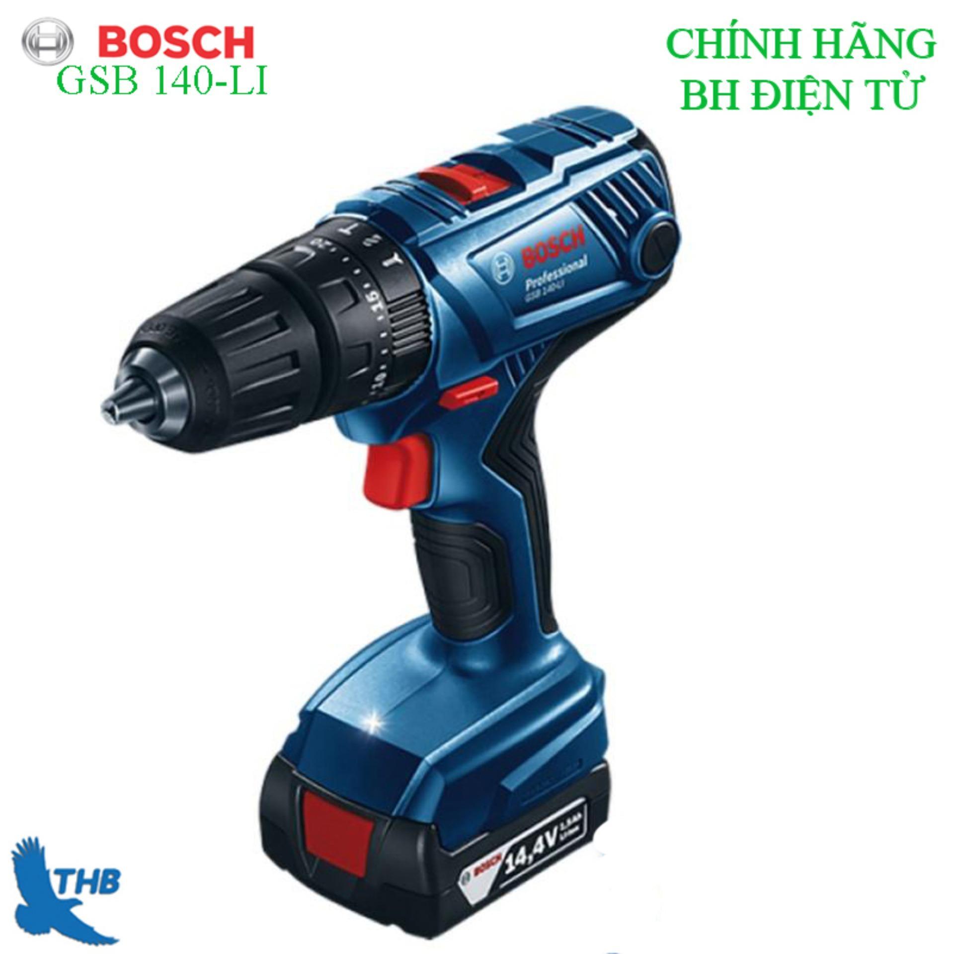 Máy khoan vặn vít dùng Pin Bosch GSB 140LI + Phụ kiện