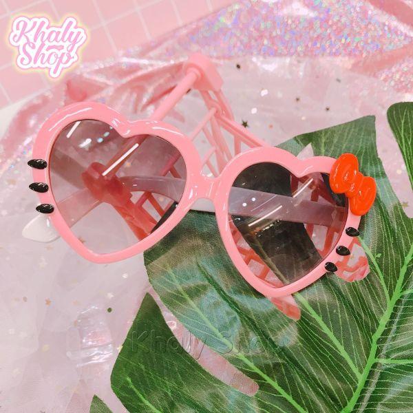 Giá bán Mắt kính nhựa cao cấp kiểu trái tim Mèo Kitty dành cho trẻ em màu hồng - 40MKKTT16
