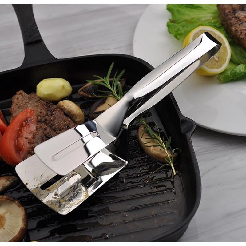 Kẹp inox gắp nóng thức ăn đa năng mẫu mới, xẻng gắp hỗ trợ chiên rán siêu tiện dụng
