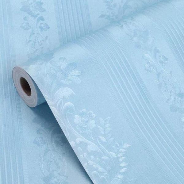 10 mét giấy dán tường vân nổi có keo sẵn khổ rộng 45cm - mẫu hoa văn sọc cổ điển xanh ngọc