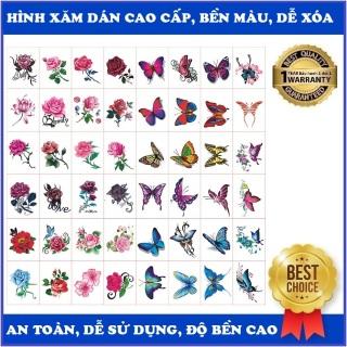 Bộ 50 Hình xăm dán Hoa hồng, bướm các màu...kích thước 5 x 7cm, Hình xăm có nhiều hình nhỏ có thể tách riêng, phù hợp dán lưng, vai, bắp tay, ngực, bụng, đùi... thumbnail