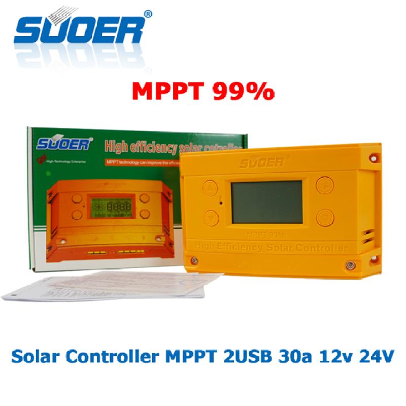 Bộ điều khiển sạc năng lượng mặt trời MPPT Solar Charge Controller suoer 30A 12V 24V ST-H1230