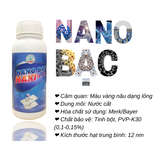Nano bạc Haki 500ppm chuyên dùng cho nano bạc thủy sản phòng và trị bệnh cho tôm cá, khử mùi làm trong bể cá thủy sinh ao nuôi và làm trong nước và diệt tảo lam
