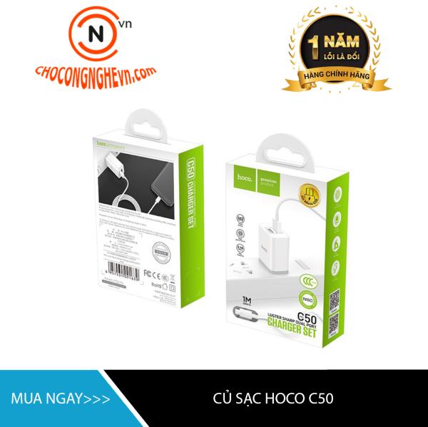 Bộ củ sạc nhanh 2 cổng HOCO C50 kèm dây Lightning/Type C/Micro USB dành cho điện thoại Iphone/ điện thoại Android dòng lên tới 2.4A