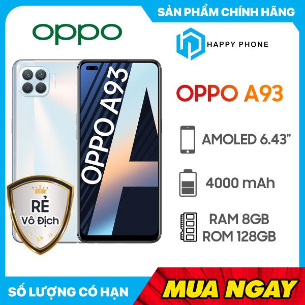Điện thoại Oppo A93 Bộ nhớ trong 128GB   Hàng chính hãng, Nguyên Seal, Mới 100%   Bảo hành chính hãng 12 tháng   Màn hình lớn 6.43 inch   Pin 4000 mAh, có sạc nhanh