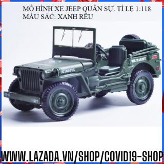 ( Cam kết sản phẩm y hình, uy tín, chất lượng ) Mô hình hợp kim kích thước lớn xe Jeep quận sự, tỉ lệ 1 18 thumbnail