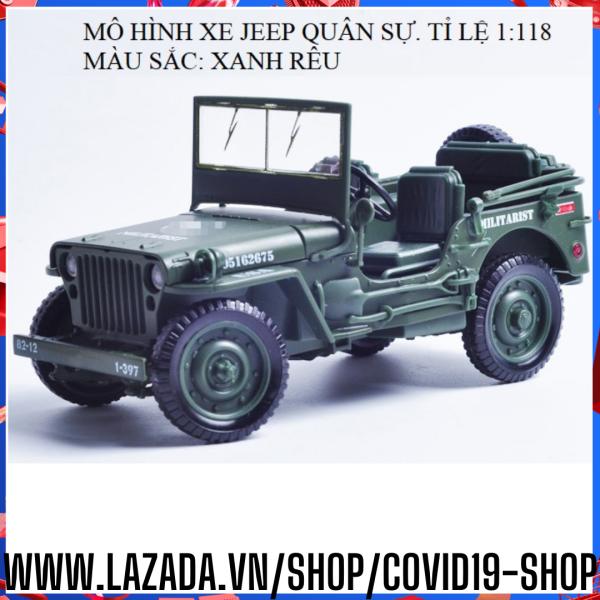 ( Cam kết sản phẩm y hình,  uy tín, chất lượng )  Mô hình hợp kim kích thước lớn xe Jeep quận sự, tỉ lệ 1:18