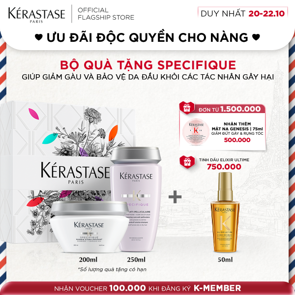 Bộ dầu gội và mặt nạ giảm gàu, nuôi dưỡng da đầu Kérastase Anti-Pelliculaire (250 & 200ml)  + hộp quà tặng