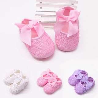 Giày nơ lớn đế bằng cho bé gái 0-12 tháng 3 màu sắc khác nhau để lựa chọn - I Love Daddy & Mummy - INTL