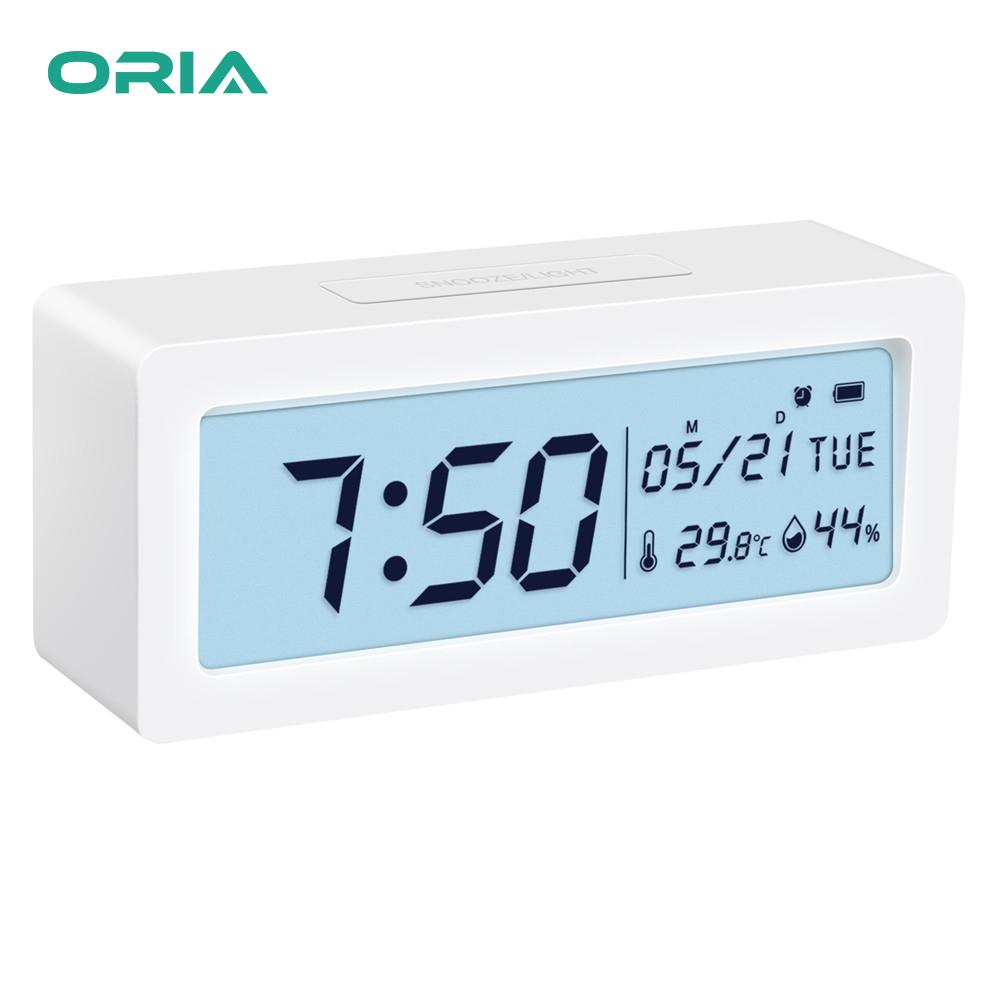 Nơi bán ORIA Đồng hồ báo thức kỹ thuật số Đồng hồ đeo tay với nhiệt kế đo độ ẩm, LCD lớn Chữ số đèn nền với báo lại cho phòng ngủ Kệ bàn cạnh giường ngủ
