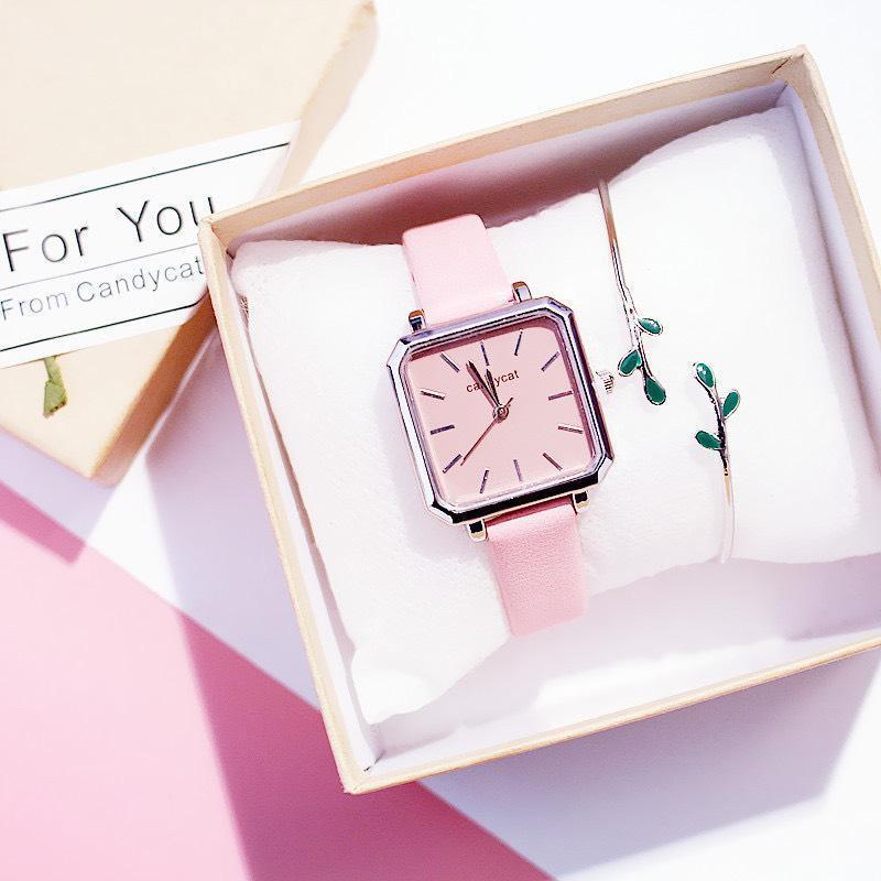 Nơi bán Đồng hồ nữ, Đồng hồ thời trang, Đồng hồ Candycat, Dây da, Mặt vuông , Sang trọng, Siêu đẹp, Nhiều màu-TẶNG KÈM VÒNG TAY