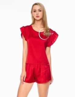 Dreamy DN13 - Đồ bộ ngủ lụa cao cấp, đồ bộ ngủ phối tay bèo, đồ bộ ngủ dể thương, đồ bộ mặc nhà mát mẻ, đồ bộ lụa trơn, dáng xuông có bốn màu đỏ đô, xanh bơ, hồng pastel và xanh đen thumbnail
