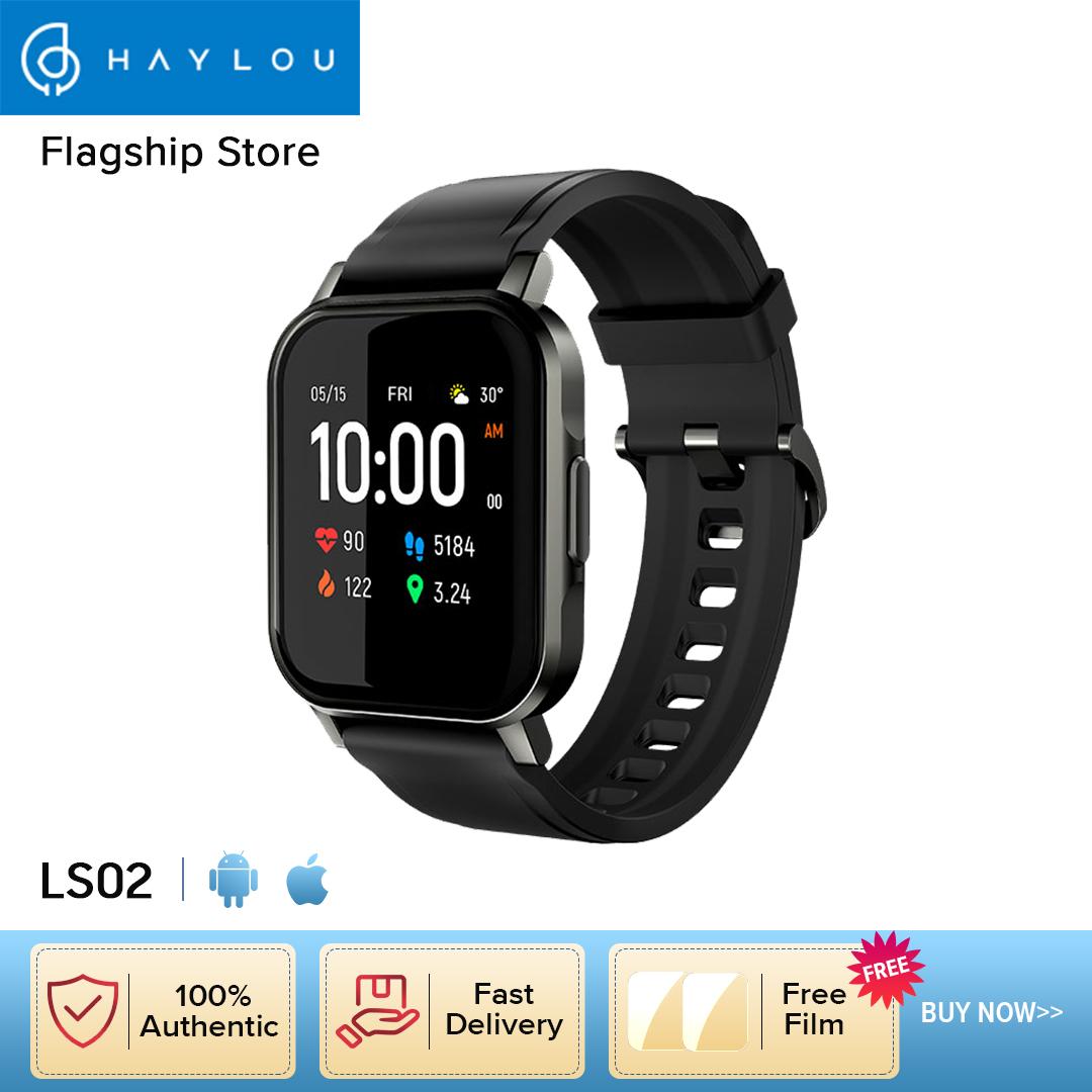Đồng hồ thông minh Haylou LS02 Bluetooth 5.0 Chống nước IP68 Màn hình cảm ứng 1.4 inch Theo dõi nhịp tim Giấc ngủ Vận động 12 chế độ thể thao Báo thức qua điện thoại SMS Nhắc nhở Phiên bản tiếng Anh cho Nam Nữ