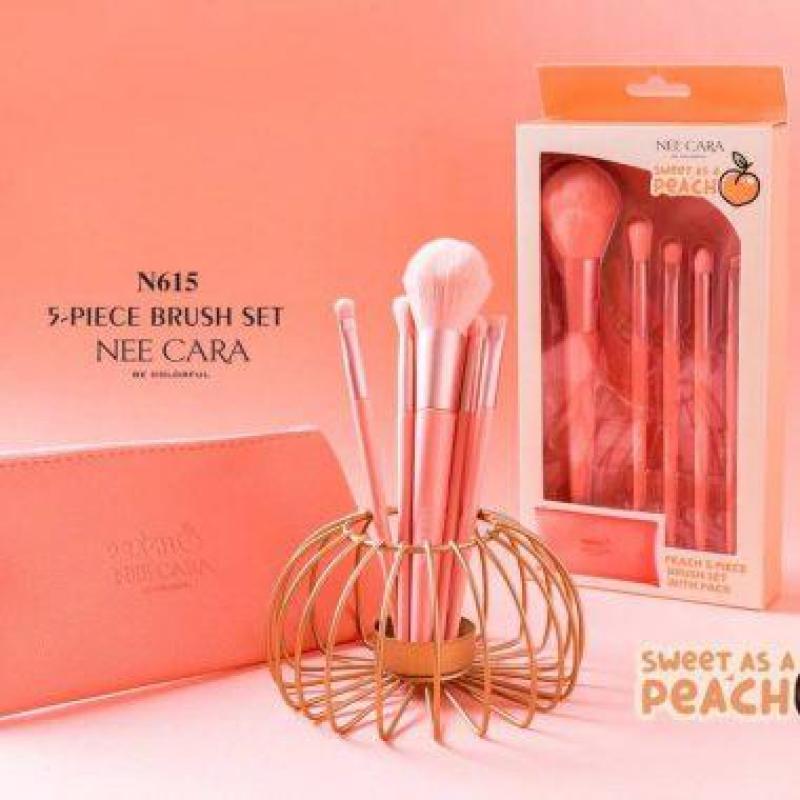 Bộ cọ Thái Lan 5 cây lông mịn Neecara Peach kèm túi da