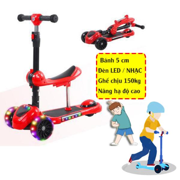 Mua Xe scooter trẻ em YOYO 3 bánh tự cân bằng, bánh xe siêu bự 5cm siêu êm, có ghế gấp gọn, có nhạc và đèn LED bánh xe (nhiều máu)