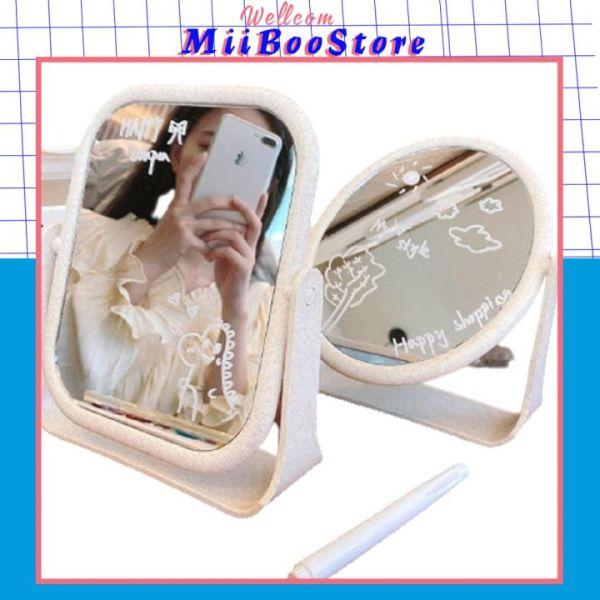 [Xả Trong 3 Ngày]Gương Trang Điểm Để Bàn Decor MiiBooStore, Gương Soi Di Động Dòng Thấp 2 Mặt Xoay 360 Độ Có 2 Mặt Vuông Và Tròn giá rẻ