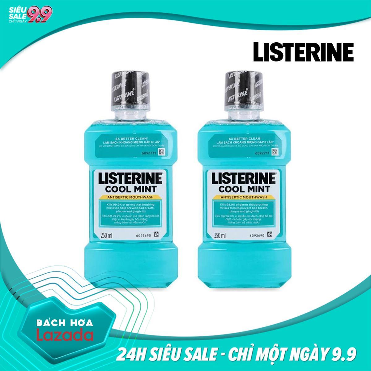 Bộ 2 Nước Súc Miệng Listerine Cool Mint giữ hơi thở thơm mát - 2 chai x 250ml chính hãng