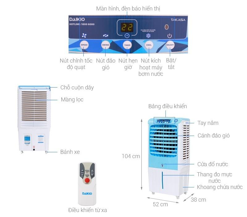 Quạt điều hòa Daikio DKA-04000A mới-Quạt điều hòa công suất 160 W, diện tích làm mát 25 – 30 m2. Tùy chỉnh chức năng từ xa tiện lợi với thiết kế remote điều khiển từ xa.tính năng tự ngắt bơm khi bình cạn nước